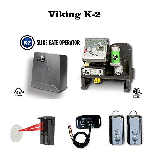 Viking K-2 Residential Slide Sliding Gate Operator, Safety Photocell, Transmitter & Receiver