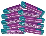 Fight Like a Girl Suicide Prevention Awareness I Wear Teal & Purple for Someone Who Meant The World to Me Wristband Bracelet 10-Pack
