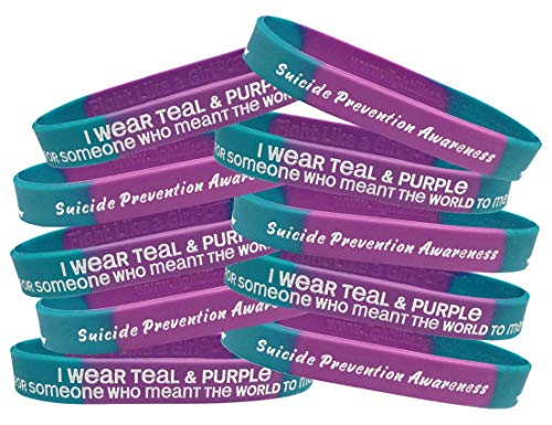 Suicide Awareness Ribbon (Fight Like a Girl Suicide Prevention Awareness I Wear Teal & Purple for Someone Who Meant The World to Me Wristband Bracelet 10-Pack (Teal & Purple)