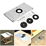 Router Table Insert Plate,Multifunctional Aluminum Router Table Insert Plate The Trim Panel,DIY Woodworking Fine Tuning Engraving Machine with 4 Rings for Woodworking Benches