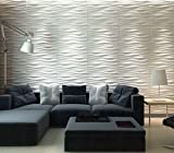 Art3d Decorative 3D Wall Panels Wave Board Design for TV Walls / Bedroom / Living Room Sofa Background, Pack of 6 Tiles 32 Sq Ft (Plant Fiber)