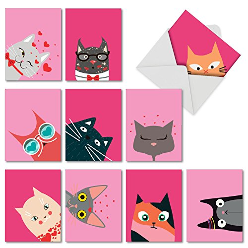 Kitties and Kisses - Boxed Set of 10 Valentine's Day Greeting Card (4 x 5.12 Inch) - Assorted Bulk Valentines Cat Note Cards with Envelopes - Funny Artistic Animal Stationery M5657VDG-B1x10