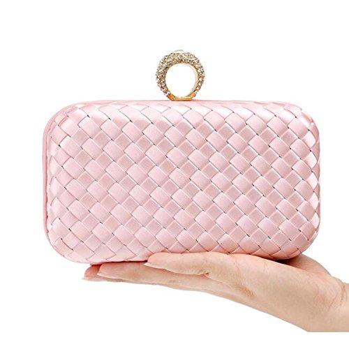 Promoción Nupcial Señoras Blue Del Hombro Bodas Boda Diamante Weaves Partido Tarde Embrague Pink Mujeres Bolso Wyba De Las La qwvSCS