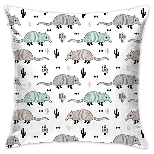Cute Quirky Armadillo Cactus Woodland Fun Wester Theme Kids Animals Pattern Mint Flannel Decorative Square Pillow Cushion Cover Sofa Home Decor Modern 18 X 18 inch(45 X 45 -