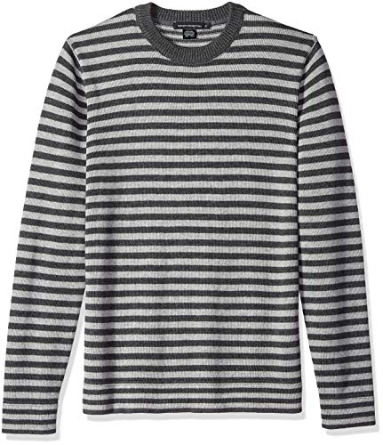 French Connection Men's Long Sleeve Stripe Crew Neck Sweater, Grey/Charcoal, S