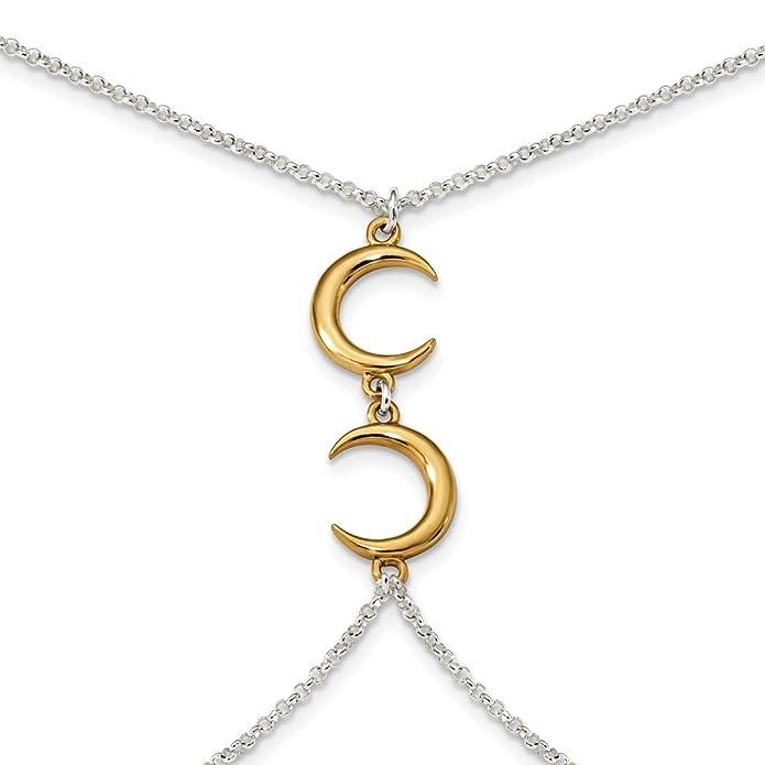 3f90dc935f7cf Amazon.com: 925 Sterling Silver Gold Tone Crescent Moon 32 Inch 2 ...