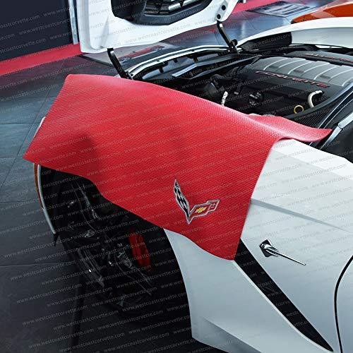 Corvette Fender Mat with C7 Crossed Flags Logo (Red)