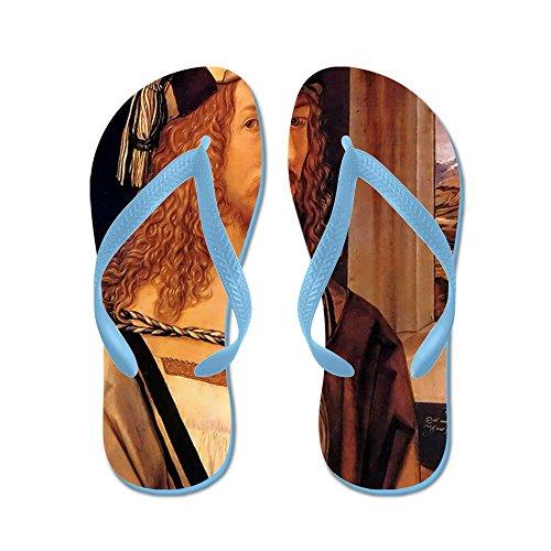 Cafepress Albrecht Durer Zelfportret - Flip Flops, Grappige String Sandalen, Strand Sandalen Caribbean Blue