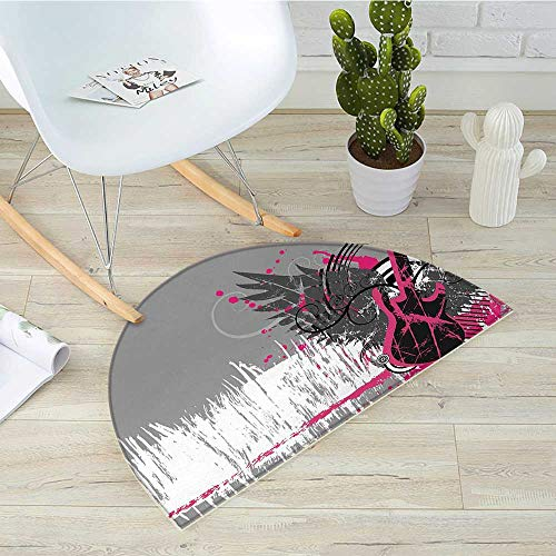 Music Half Round Door mats Guitar and Wings in Sketchy Grunge Background Emo Rock Trippy Illustration Bathroom Mat H 35.4