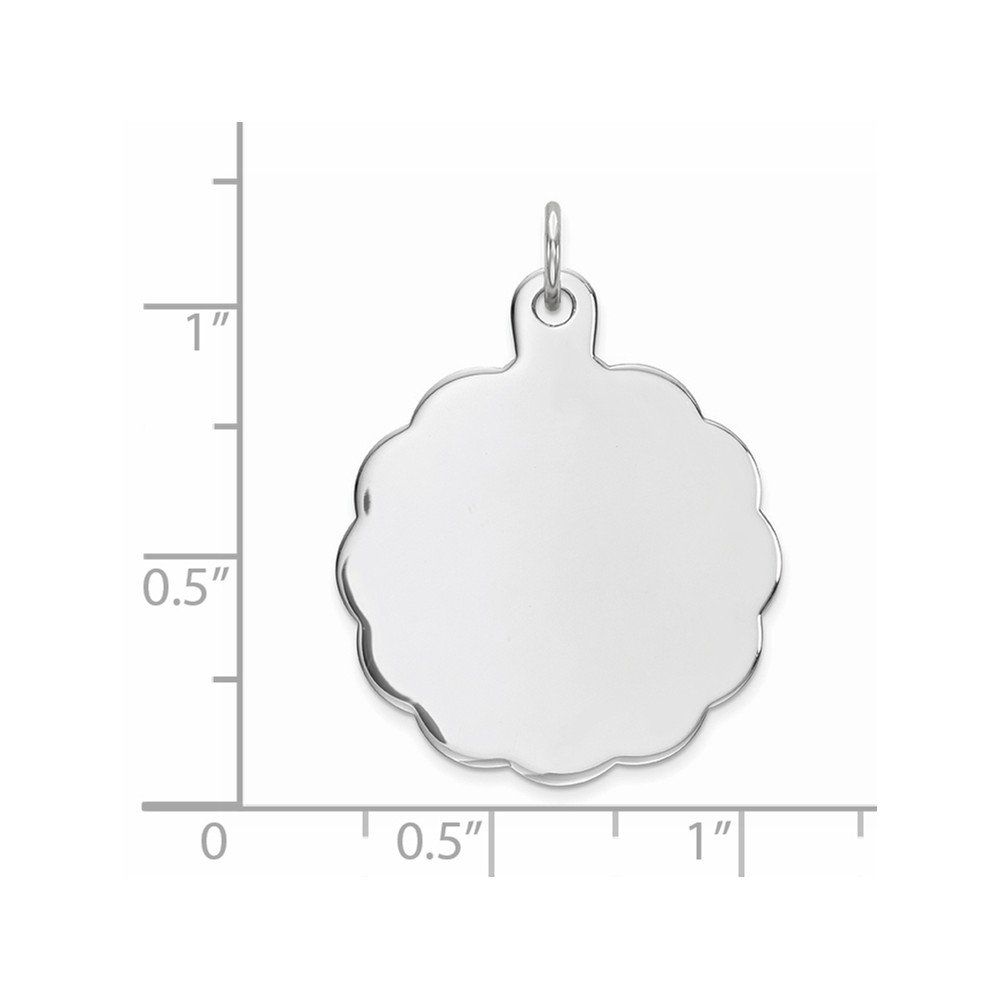 Beautiful Sterling silver 925 sterling Sterling Silver Rh-plt Engraveable Polished Front//Satin Back Disc Charm