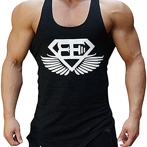 Men Muscle Fitness Gym Stringer Tank Tops Bodybuilding Workout Sleeveless Shirts (Black White, US MEDIUM(Tag XL))