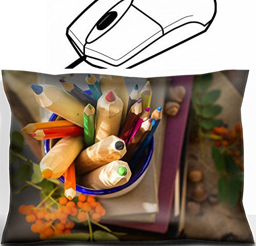 MSD Mouse Wrist Rest Office Decor Wrist Supporter Pillow design: 30907375 The concept of back to school Colored pencils and books by MSD