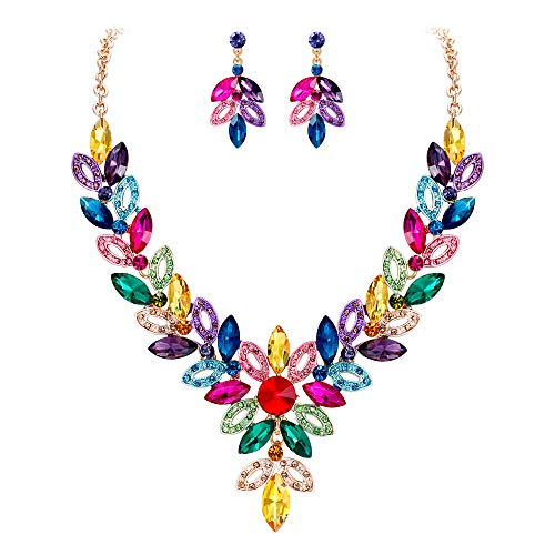 (BriLove Women's Wedding Bridal Crystal Multi Marquise-Shape Leaf Enamel Statement Necklace Dangle Earrings Set Multicolor Colorful Gold-Toned)
