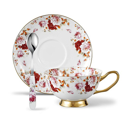 Panbado 3 Piece Bone China Tea Cup and Saucer Set with Spoon 6.8 oz, Vintage Porcelain Coffee Cup Set, Service for 1, Floral Gold ()