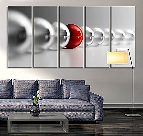 EZON-CH Large Wall Art Red Ball in Gray Balls Large Wall Art Black White Different Art Grey Balls Wall Art Print 60 Inch Total Brand change to:EZON-CH