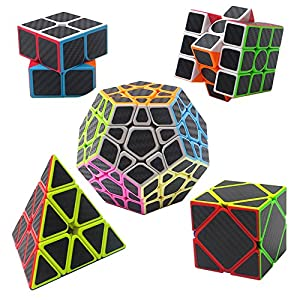 Carbon Fiber Sticker Speed Cube bundle 5 pack, XHMQBER 2x2 3x3 Megaminx Skewb Pyramid carbon fiber cube set Magic Cube Puzzle,Toy Set of 5pcs,Extra Gifts Offer, IQ Games Puzzles with Gift Packing