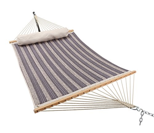 Patio Watcher 11 Feet Quilted Fabric Hammock with Pillow, Double Hammock with Bamboo Wood Spreader Bars, Perfect for Outdoor Patio Yard, Gray - Dimensions: Patio Watcher double quilted hammock is large enough to hold 2 person.The total length (from loop to loop) is11-feet while the bed resting area is 75 inches Long x 55 inches Wide. Two steel S-hooks and two 13-inch chains for adjust. This hammock is designed to safely support a maximum capacity of 440 pounds. Stable and Comfort: The double-layered quilted polyester with inner cotton padding and a polyethylene stuffing head pillow offer superior comfort. 55 inches durable bamboo wood spreader bar with powder coated in an oil rubbed finish protects from rot, mold or mildew, making it more stable and maximizing style. Easy to Use: Comes with a high quality quilted fabric rope hammock, detachable pillow, sturdy suspension rings, two steel S-hooks and two 13-inch chains for easy setup. Just hang it between two trees with straps or on a hammock stand (NOT INCLUDED). - patio-furniture, patio, hammocks - 51%2B sac4pvL -