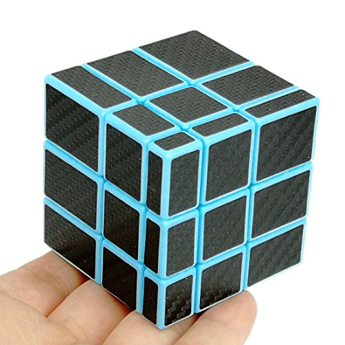 Mirror Block (CuberSpeed Fangge Mirror Blue with Black Carbon Fiber stickers 3x3 Magic cube Mirror Blocks Blue Speed cube)