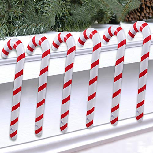 Candy Cane Props (QIFU Inflatable Christmas Candy Cane for Christmas Decorations Set of 6, Outdoor Holiday)