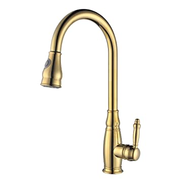 KES BRASS Tall Kitchen Faucet Gold With Pull Down Sprayer Extra High Large  Modern Commercial Pullout