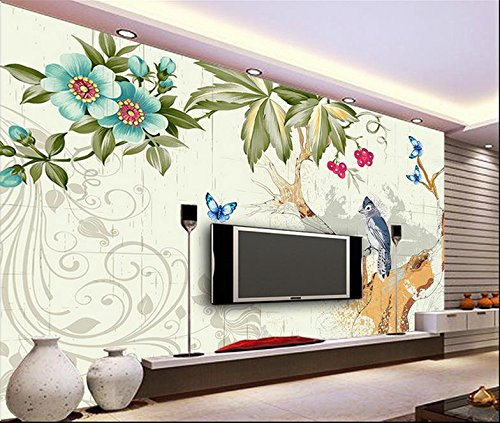 Whian 3D Wallpaper Mural Living Room Bedroom Abstract Hand-Painted Ink and Ink Bird Tv Setting Flowers Picture Wall Sticker 240Cmx180Cm|94.48(in) X70.86(in)