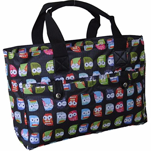 Floral Silver wipe and Knitting cleanable Bag Beach Owl Very Black strong handbag Bag qvYvFn0z