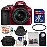 Nikon D3400 Digital SLR Camera & 18-55mm VR DX AF-P Zoom Lens (Red) with 32GB Card + Case + UV Filter + Remote + Hood + Kit
