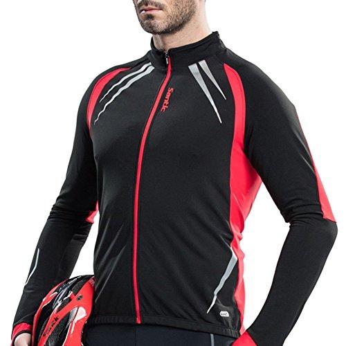 (Santic Men's Cycling Jacket Windproof Fleece Thermal Winter Bike Bicycle Jersey Red US L(CN)