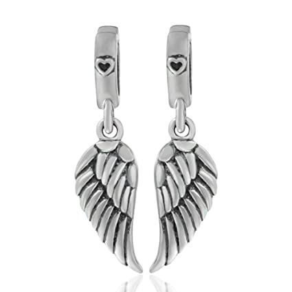 a50f9a54b3289 925 Sterling Silver Feathers Angel Wing Heart Shape Holiday Travel Charm  Bead for DIY Necklace Bracelet