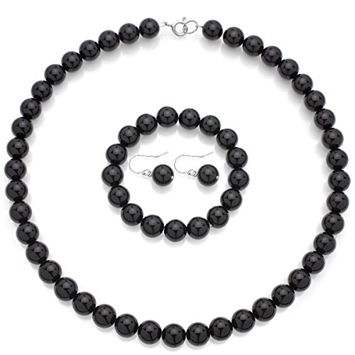 rling Silver 10mm Simulated Black Onyx Necklace 18
