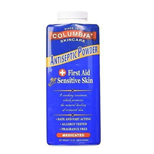 Columbia Skincare Medicated Antiseptic Powder for Sensitive Skin, 14 oz ( Pack of 2)