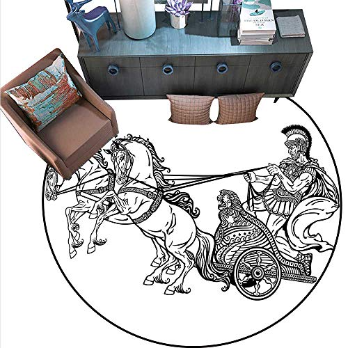 Toga Party Round Rug Kid Carpet Roman Warrior in a Chariot Pulled by Two Horses Historic Carriage Monochrome Circle Rugs for Living Room (6' Diameter) Black White