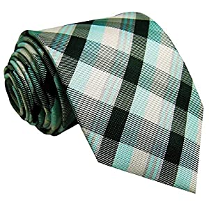 Shlax&Wing Tartan Plaids White Black Green Neckties Mens Ties Checkered Long