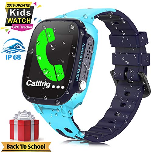Kids Smart Watch Phone for Girls Boys IP67 Waterproof GPS Tracker Locator Kids Smartwatch with SOS Call Anti-Lost Voice Chat Digital Game Wrist Watch for Kids Back to School Suppliers Gifts (Blue)