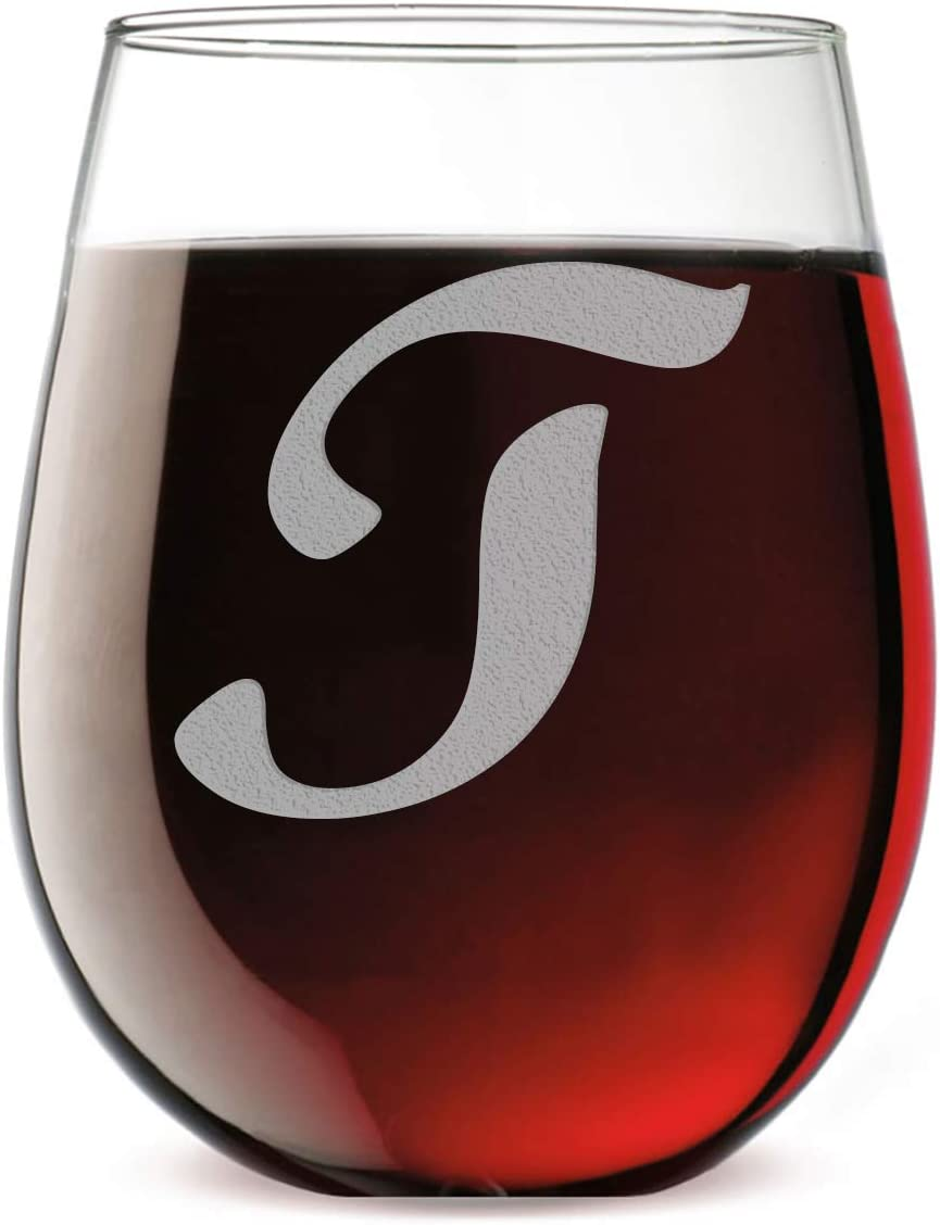 Etched Monogram 17oz Stemless Wine Glass (Letter T)