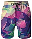 Idgreatim Mens Summer 3D Diamond Printed Funny Beach Pants Running Swimming Casual Short with Pockets M