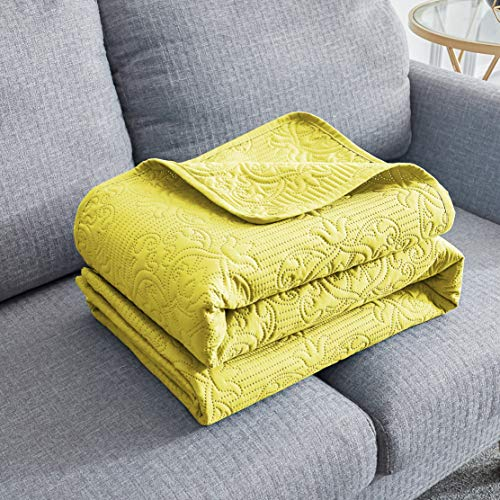 Sophia /& William Bed Quilt Bedspread Coverlet King Size Reversible Gold Lightweight