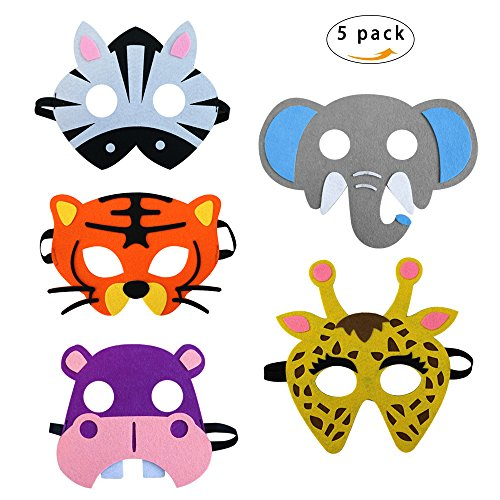 5 Assorted Felt Animal Masks for Kids Party Masks Dress-up Costume Birthday Party (Party Felt)