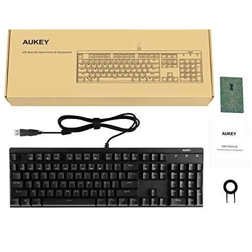 AUKEY Mechanical Keyboard with Blue Switches, Rainbow LED-Backlit 104-Key Gaming Keyboard with Preset Lighting Effects for PC and Laptop Gamers