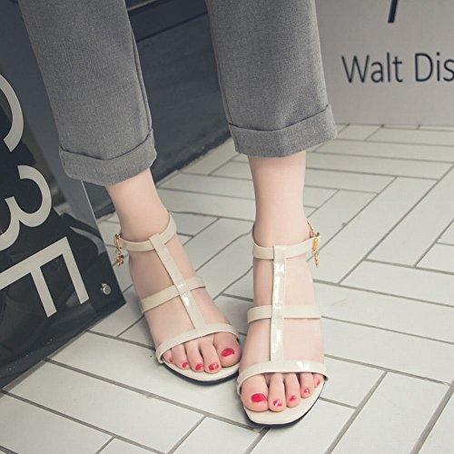 las conciso medio elegante de Carolbar mujeres hebillas de beige bloque tacón sandalias 1aSW4Uq