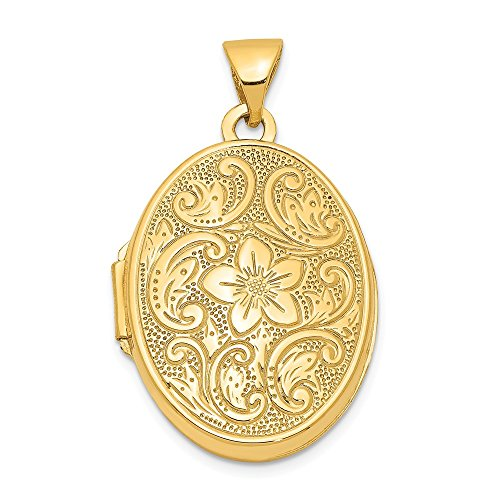 14k Yellow Gold Scrolled Floral Photo Pendant Charm Locket Chain Necklace That Holds Pictures Oval Fine Jewelry Gifts For Women For Her