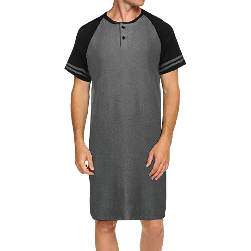 Letdown_Men tops 2019 Mens Shirts Deals ! Men Raglan Short Sleeve Patchwork Button Long Loose Pajama Tee Nightshirt Gray