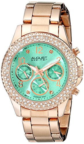 Gold Self Winding Bracelet - August Steiner Women's AS8136GN Rose Gold Multifunction Quartz Watch with Light Green Dial and Rose Gold Bracelet