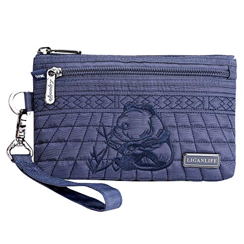 Rfid Bag Women's Liganlife Polyester Coin Fabric Protection Pouch Wristlet Bag Clutch Casual Royal Blue wUvx0Bf