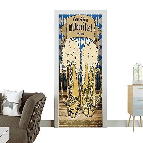 Homesonne Modern Art Door Sticker Oktoberf Famous Costume Tourist Travel tinati Blue Beige Environmentally Friendly decorationW23 x H70 -