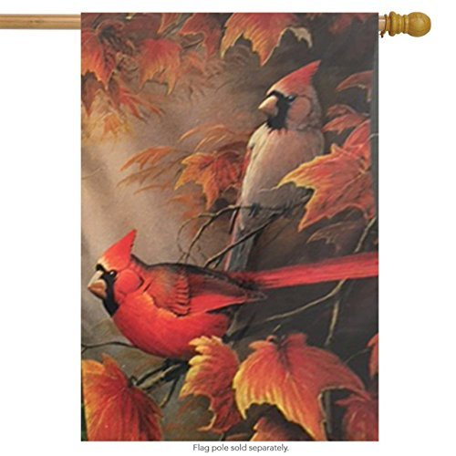 Fall House Flags - Fall Cardinals and Leaves House Flag Decorative Bird Banner 18 x 40