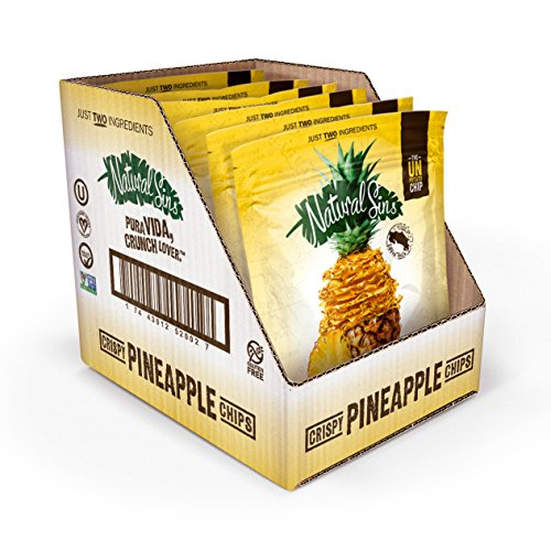 Pineapple Chips 1 Ounce Bag (6 Pack), Lightly Sweetened Pineapple Chips, Vegan, Salt- Oil- Gluten-Free, Paleo-Friendly, Snack Food, Dried Pineapple Chips ()
