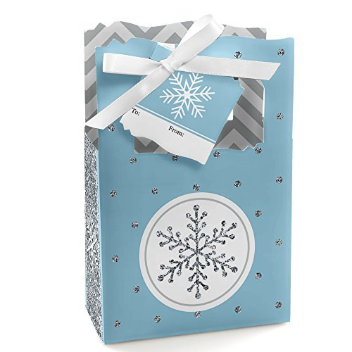 Big Dot of Happiness Winter Wonderland - Snowflake Holiday Party & Winter Wedding Gift Bag - 12 Count