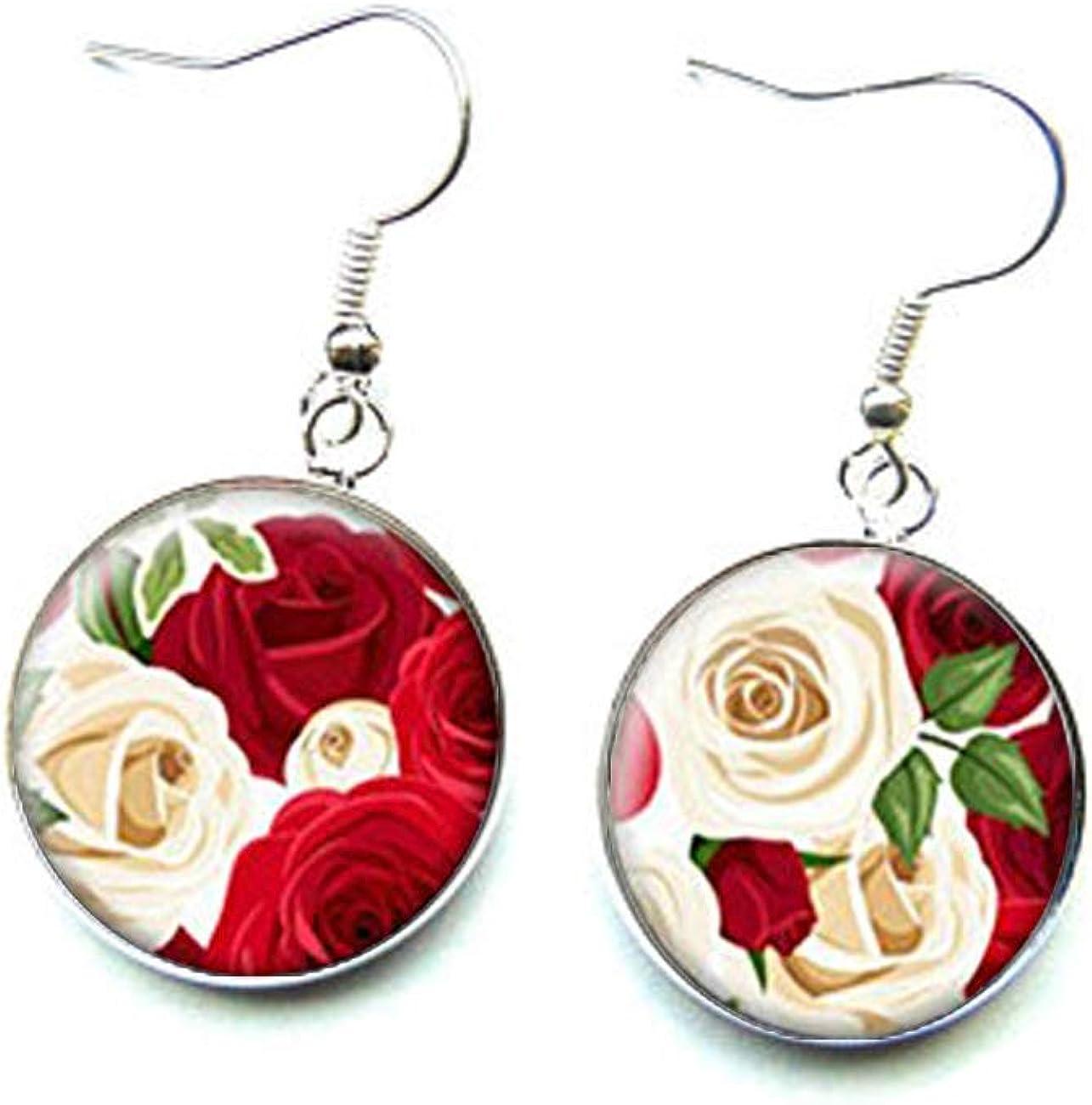 Elf House Pendientes románticos de color rojo y marfil rosas, joyería de cristal cúpula hecha a mano