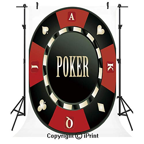 Poker Tournament Photography Backdrops,Casino Chip with Poker Word in Center Rich Icon Card Suits Decorative,Birthday Party Seamless Photo Studio Booth Background Banner 3x5ft,Army Green Vermilion Whi ()